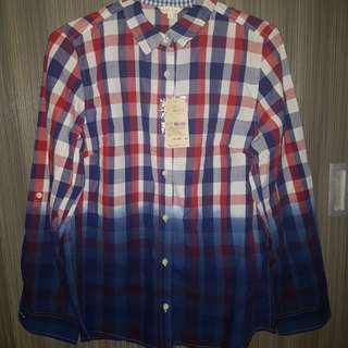 Dip-dye plaid polo top