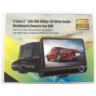 "3 LENS 4"" LCD FHD 1080p 170 Wide Angle Dashboard Camera Car DVR"