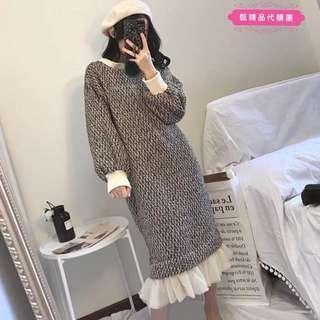 冬季新款粗花呢毛衣過膝連衣裙中長版拼接魚尾網紗燈籠袖洋裝