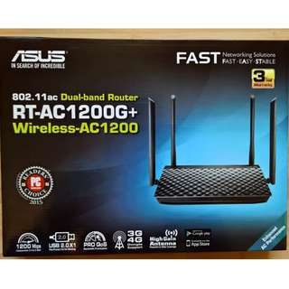ASUS RT-AC1200G+ Dual-Band Wi-Fi Router with four 5dBi antennas and Parental Controls