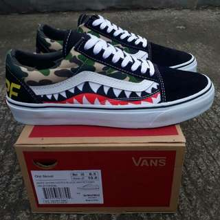 VANS OLD SKOOL (BAPE SHARKTOOTH) BLACK/WHITE CAMO
