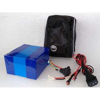 Battery 48v 10Ah lithium battery external battery, include pouch, 3 way switch,  kiddy bar