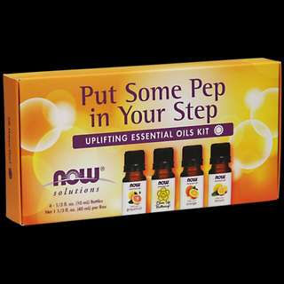 PO Now Foods Essential Oils Kit, Put Some Pep in Your Step Uplifting 4 Bottles (10 ml)