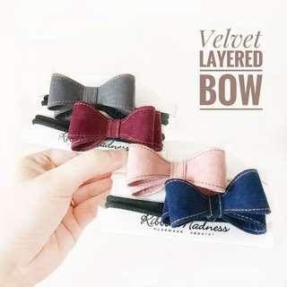 Velvet layered bow