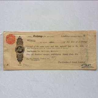 Stamp on Vintage / Old Bill Note Receipt - Singapore Malaya - 25 Cent on receipt dated 1952 with nice Orange Stamp Chop