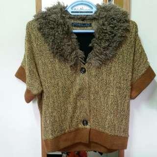 女裝 啡色 冷衫 短袖外套 Cardigan