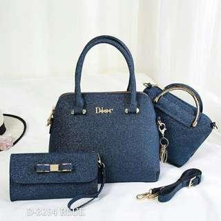 Dior 3 in 1 Handbags Blue Shimmer