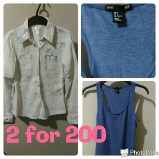 H&M tank top and denim jacket  2 for 200