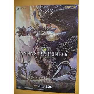 全新 XBox One X/ PS4 Monster Hunter World Official Poster 原裝官方大海報 (日本版)