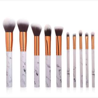 10 pcs marble makeup brush set