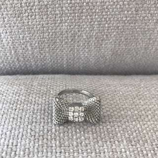 Silver bow ring with diamanté