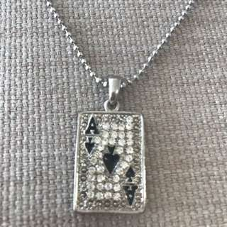 Playing card diamanté necklace