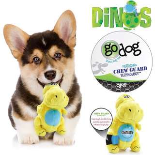 BN SMALL goDog Dinos T-Rex Tough Plush Dog Toy with Chew Guard Technology