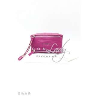 GIVENCHY Pandora Wristlet Pouch 紫桃紅色壓紋山羊皮 手拿包 手提袋 晚宴包 小手袋