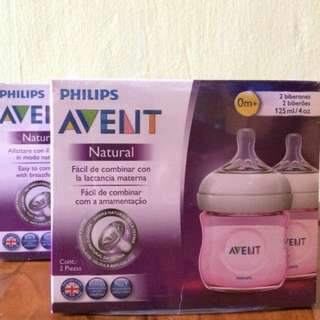Philips Avent Natural Pink Feeding Bottles / Milk bottles 125ml / 4oz (Retail price $30.90)