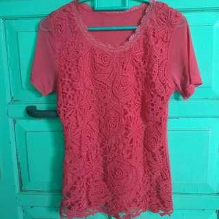 Baju Pink Renda