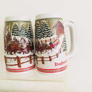 1980s Budweiser Christmas beer mugs