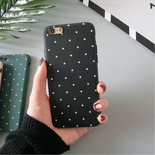 POLH Polkadot Soft Casing case Back Iphone 5 5s SE 6 6s 7 8 Plus Hitam