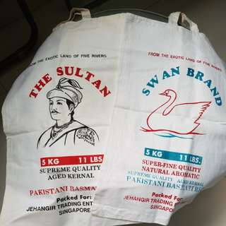 "Antique ""Swan Brand"" and ""The Sultan"" cloth bags"