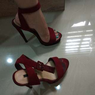 Forever 21 Red Suede Strap Heels