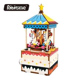[BNIB] Robotime DIY Music Box - AM304 Merry-Go-Round