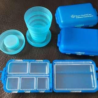 Bayer 便携藥丸盒連杯 Pill Box / Pill Organiser / Medicine Container