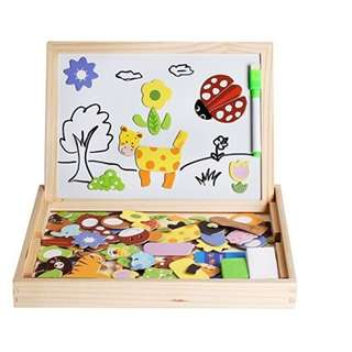 Children Wooden Magnetic Double Sided Drawing Board - Animal