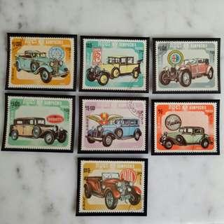 Kampuchea vintage car stamps 1984