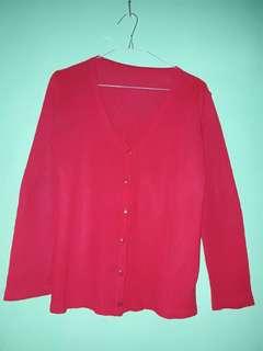 Cardigan Merah Kardigan Sweater Kancing