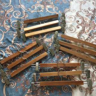 Wooden hangers with clip