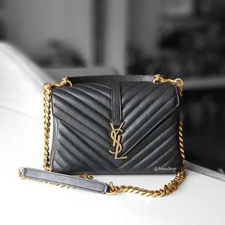 Authentic Ysl Yves Saint Laurent Black College Bag