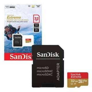 Brand New SanDisk EXTREME MICRO SDHC 32GB selling at $26.50