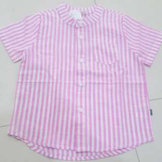 Boys Pink Striped Shirt