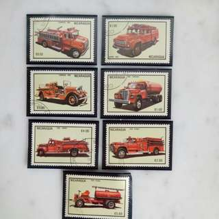 Nicaragua 1983 Vintage Fire Truck Stamp Collection