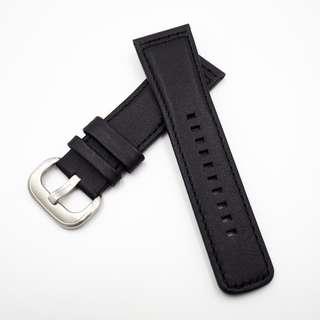 (287) 全新 28mm SevenFriday 黑色牛皮代用錶帶配精鋼針扣