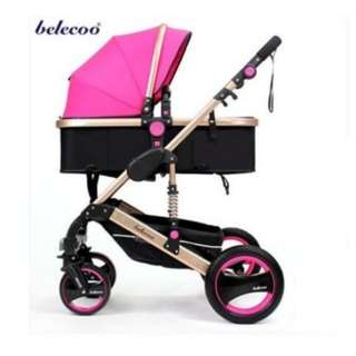 Belecoo Gold Suspension Frame German Design Stroller (Pink)