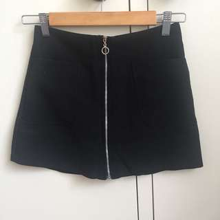black zip down skirt