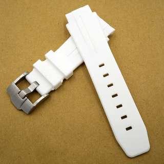 (217) 全新 21mm Rolex Deepsea 專用圓頭白色橡膠代用錶帶配精鋼針扣
