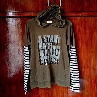 Original The Black Dog olive green hoodie with stripes