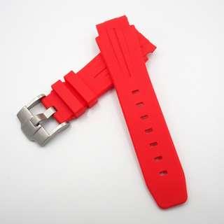 (218) 全新 21mm Rolex Deepsea 專用圓頭紅色橡膠代用錶帶配精鋼針扣