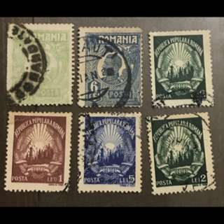 Romania early stamps six values