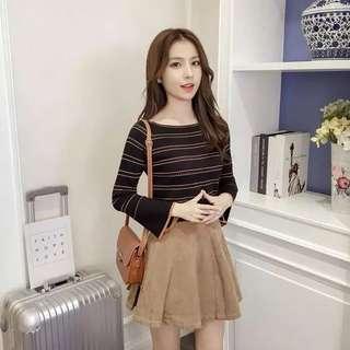 🚚 韓版休閒款女裝條紋喇叭袖針織上衣