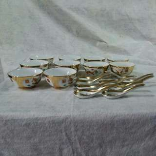 金色龍鳳碗連匙羹10個(景德鎮製造)