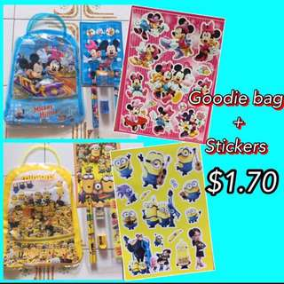 Goodie bag with stickers for kids / children party gift stationery set