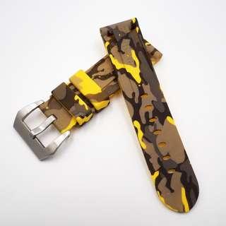(2436) 全新 Panerai 24mm OEM黃色迷彩矽膠代用膠帶配精鋼錶扣