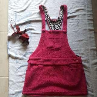 Baju pink jumpsuit skirt