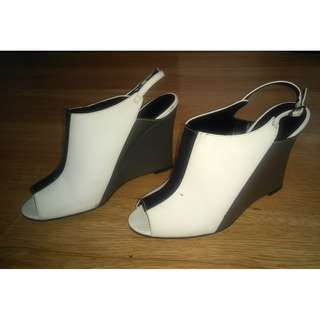 Charles and Keith Black and White Wedge Sandals