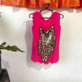 Pink top with metallic detail