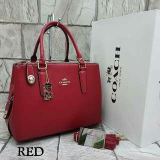 Coach Satchel Tote Bag Red Color