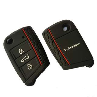 New & Best Selling VW Silicone Mk7 Car Key Cover (Black with Red Stripe)